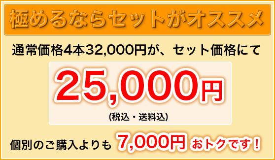 極めるならセットがオススメ 通常価格4本32,000円が、セット価格にて25,000円(税込・送料込) 個別のご購入よりも7,000円おトクです!