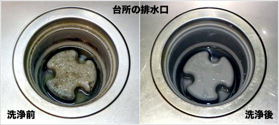 台所の排水口 洗浄前洗浄後