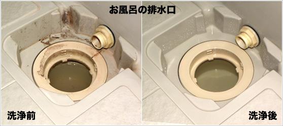 お風呂の排水口 洗浄前洗浄後